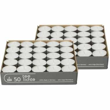 100x witte theelichtjes/theelichtjes 4,5 branduren