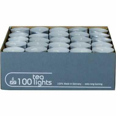 100x witte theelichtjes/theelichtjes 5 branduren