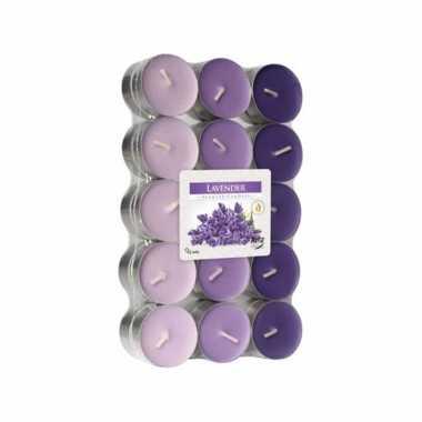120x stuks theelichtjes/theelichten lavendel geurkaarsen 4 branduren