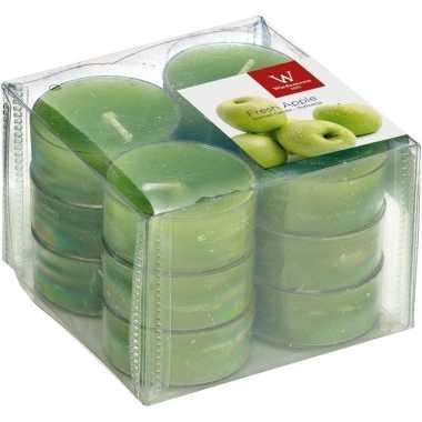 12x geurtheelichtjes appel/groen 4 branduren
