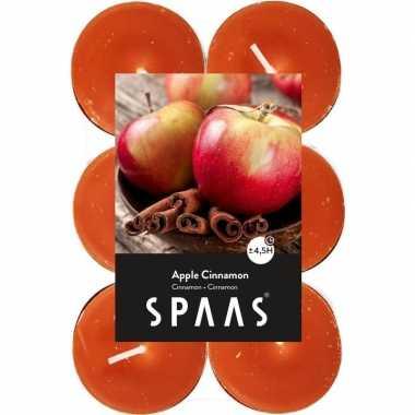 12x geurtheelichtjes apple cinnamon/oranje 4,5 branduren