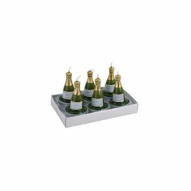 12x stuks champagnefles theelichtjes/theelichtjes