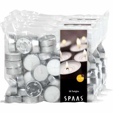 150x witte theelichtjes/theelichtjes 4,5 branduren in zak