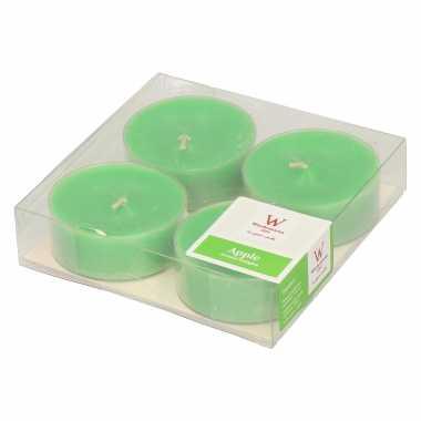 16x maxi geurtheelichtjes appel/groen 8 branduren