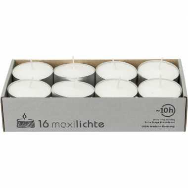 16x witte maxi theelichtjes/theelichtjes 10 branduren