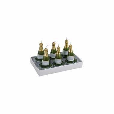 18x stuks champagnefles theelichtjes/theelichtjes