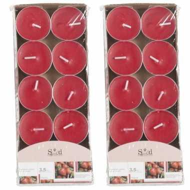20x geurtheelichtjes aardbei/rood 3,5 branduren