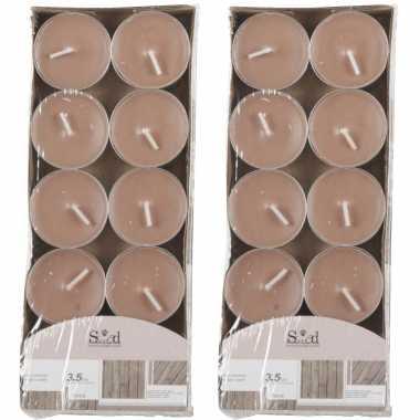 20x geurtheelichtjes hout/bruin 3,5 branduren