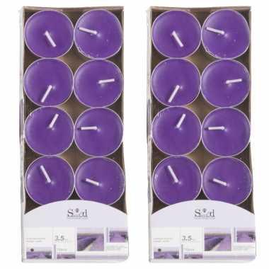 20x geurtheelichtjes lavendel/paars 3,5 branduren