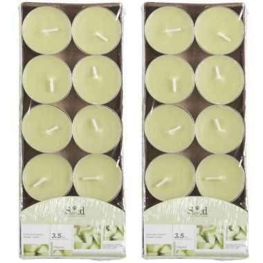 20x geurtheelichtjes meloen/lichtgroen 3,5 branduren