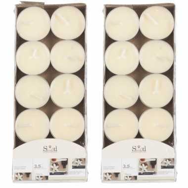 20x geurtheelichtjes vanille/cremewit 3,5 branduren