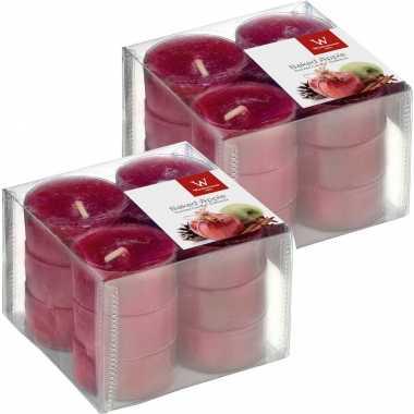 24x geurtheelichtjes gebakken appel/bordeauxrood 4 branduren