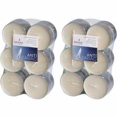 24x maxi geurtheelichtjes anti tabak/vanille geur 10 branduren