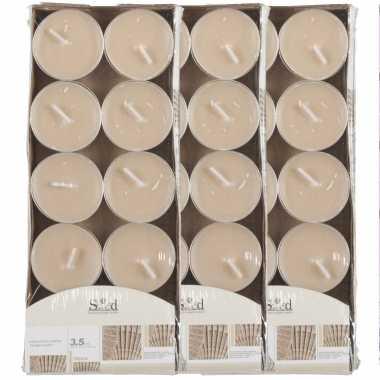 30x geurtheelichtjes cederhout/beige 3,5 branduren