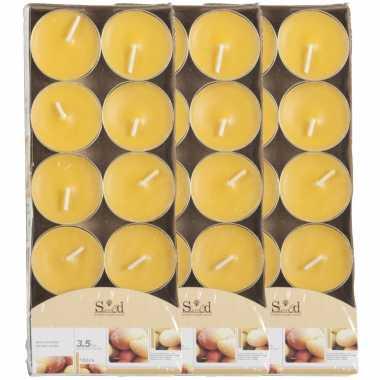 30x geurtheelichtjes mango/geel 3,5 branduren
