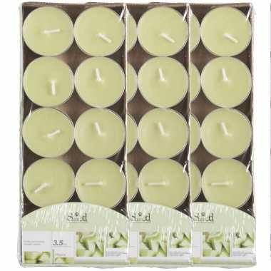 30x geurtheelichtjes meloen/lichtgroen 3,5 branduren
