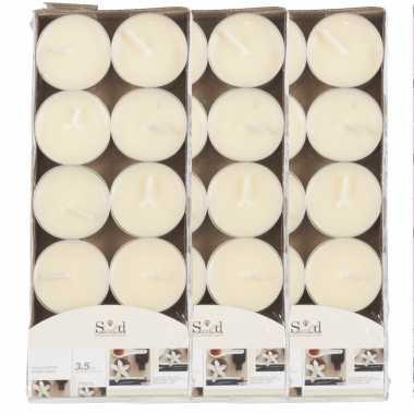 30x geurtheelichtjes vanille/cremewit 3,5 branduren