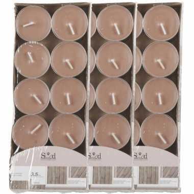 40x geurtheelichtjes hout/bruin 3,5 branduren