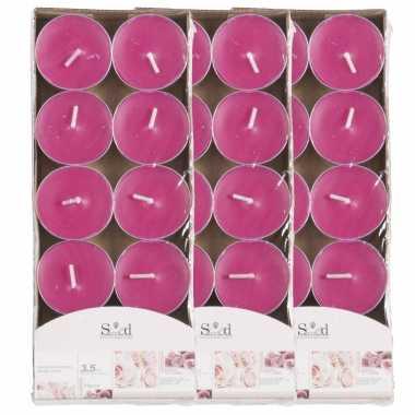 40x geurtheelichtjes rozen/roze 3,5 branduren