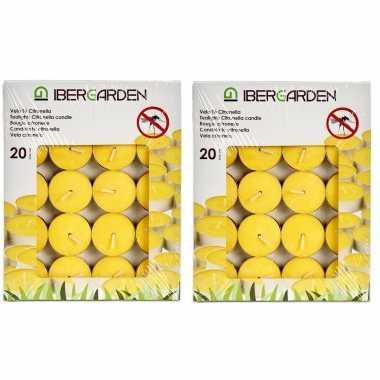 40x stuks geurkaarsen/theelichten citronella
