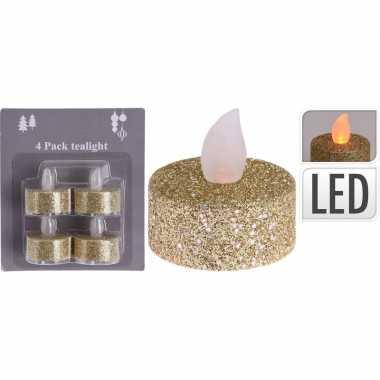 4x led theelichtjes/theelichtjes goud glitter