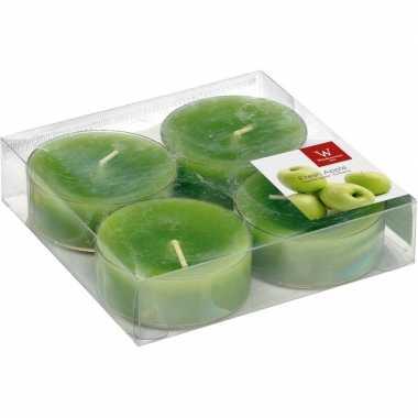4x maxi geurtheelichtjes appel/groen 8 branduren