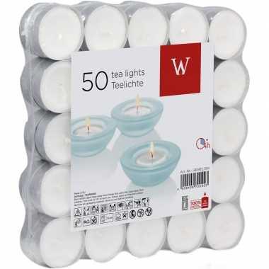 50x witte theelichtjes/theelichtjes 4 branduren