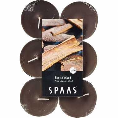 60x maxi geurtheelichtjes exotic wood/taupe 10 branduren