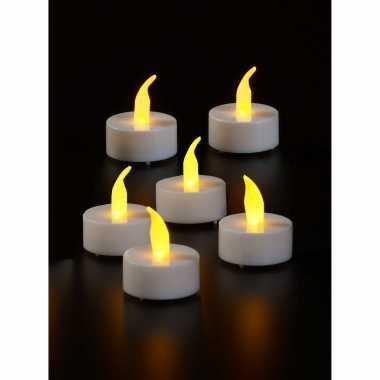 6x led theelichtjes/theelichtjes geel flameffect met timer functie