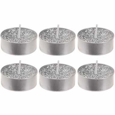 6x zilveren glitter theelichtjes/theelichtjes 6 cm