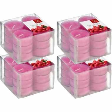 72x geurtheelichtjes cranberry/roze 4 branduren