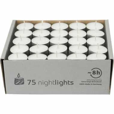 75x witte theelichtjes/theelichtjes 8 branduren