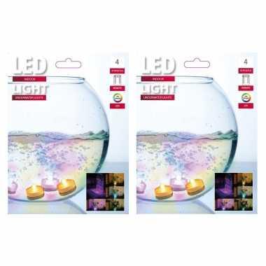 8x gekleurde led theelichtjes/theelichtjes voor in het water
