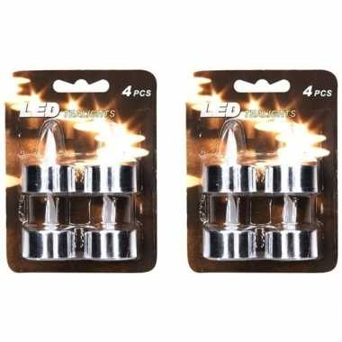 8x led theelichten/theelichten zilver
