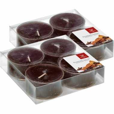 8x maxi geurtheelichtjes chocolade/bruin 8 branduren