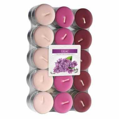 90x stuks theelichtjes/theelichten lilac geurkaarsen 4 branduren