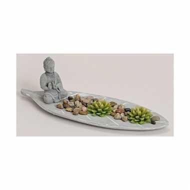 Boeddha zen tuintje met theelichtjes