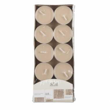 Geur theelichtjes cederhout beige 10 stuks