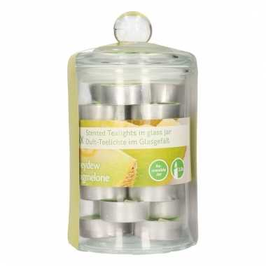 Glazen pot met 24 honing geur theelichtjes