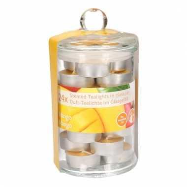 Glazen pot met 24 mango geur theelichtjes
