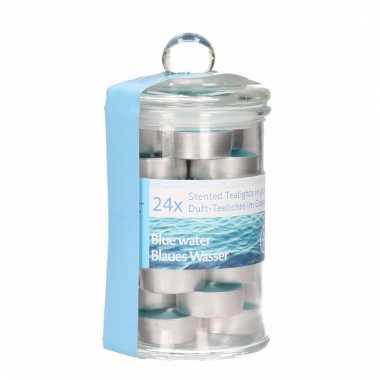 Glazen pot met 24 oceaan geur theelichtjes