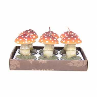 Kerst paddenstoel theelichtjes 6 stuks