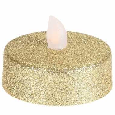 Led gouden flakkerende theelichtjes 2 stuks