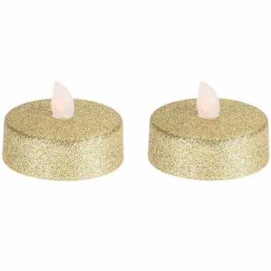 Led theelichten/theelichten glitter goud 4x stuks flakkerend