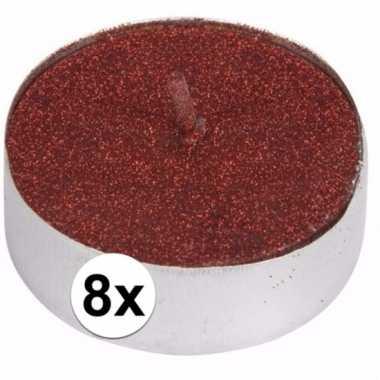 Rode glitter theelichtjes 8 stuks