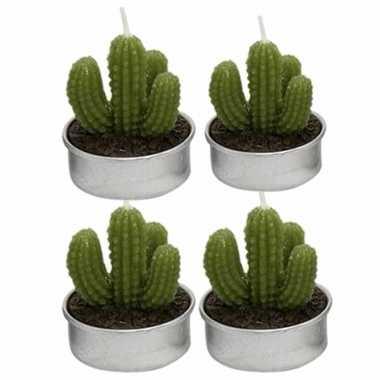 Set van 4x stuks cactus theelichtjes 5 cm vinger vorm
