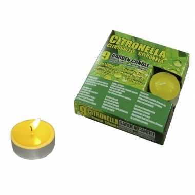 Set van 9x stuks anti muggen theelichtjes citronella