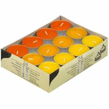 Theelichten 3 kleuren oranje 48 stuks