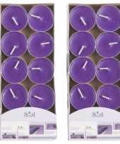 20x geurtheelichtjes lavendel paars 3 5 branduren