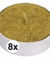 Gouden glitter theelichtjes 8 stuks